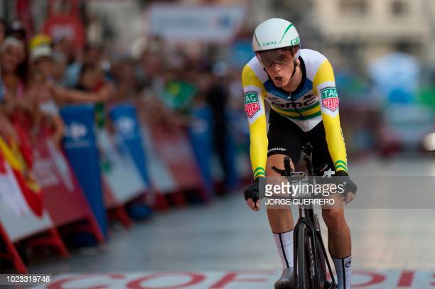 """Racing Team's Australian cyclist Rohan Dennis rides in Malaga during the first stage of the 73rd edition of """"La Vuelta"""" Tour of Spain cycling race,..."""