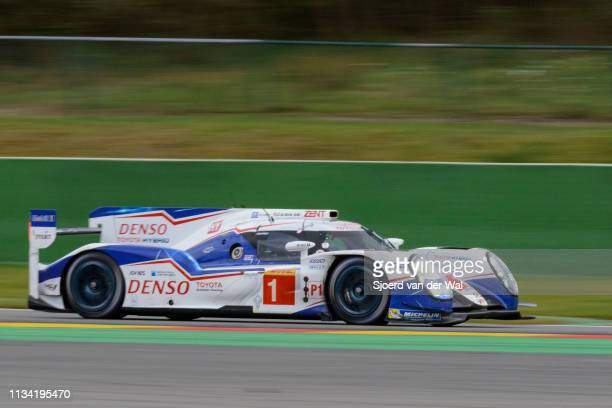 Racing Toyota TS 040 Hybrid race car driven by DAVIDSON A BUEMI SNAKAJIMA K driving on track with the second Toyota in the background during the 6...