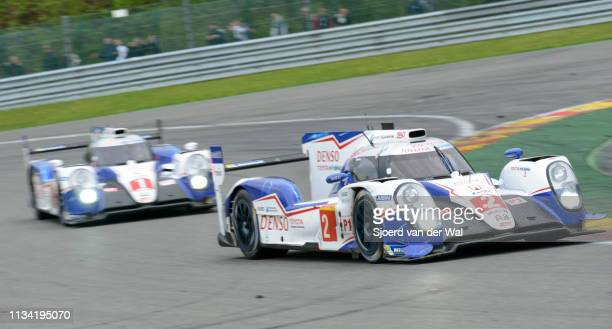 Racing Toyota TS 040 Hybrid race car driven by WURZ A SARRAZIN S CONWAY M driving on track with the second Toyota in the background during the 6...