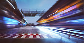 racing track with motion blur