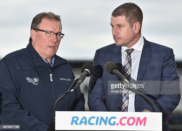 Racing Victoria International Recruitment Officer Leigh Jordon speaks to Shane Anderson during the nominations announcement for the 2015 Caulfield...