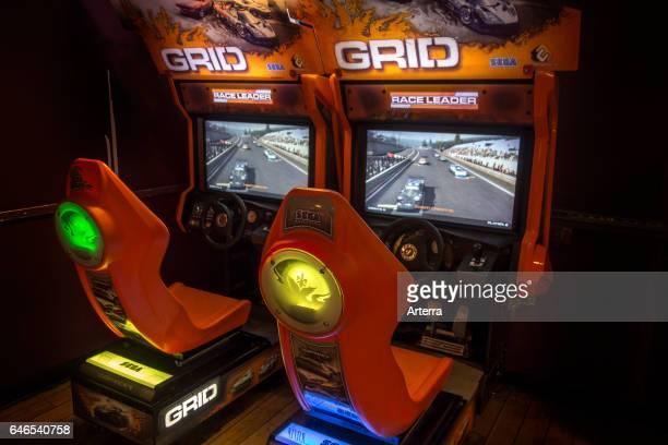 Racing Video Game twoplayer arcade racing game in English pub UK