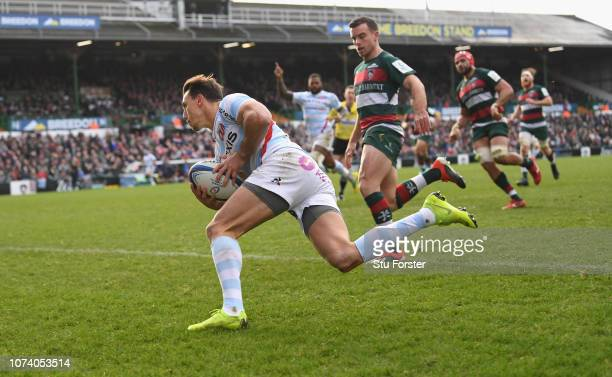 Racing wing Juan Imhoff crosses for the second racing try during the Champions Cup match between Leicester Tigers and Racing 92 at Welford Road...