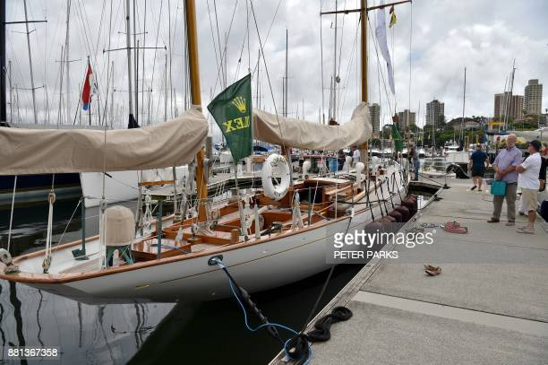 US racing yacht 'Dorade' is seen at the official launch of the Sydney to Hobart Yacht Race 2017 at the Cruising Yacht Club of Australia in Sydney on...