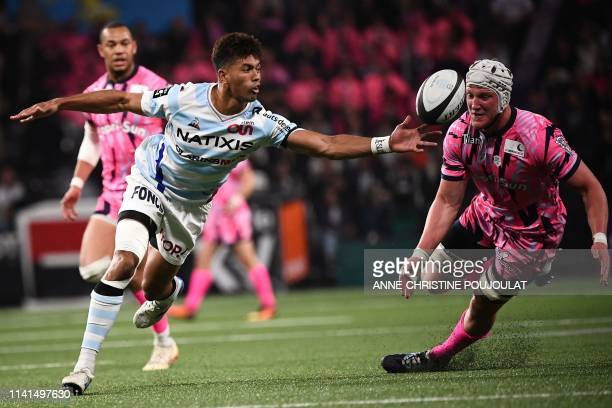 Racing92's Fiji flyhalf Ben Volavola vies with Stade Francais' Hendre Stassen during the French Top 14 rugby union match between Racing 92 and Stade...