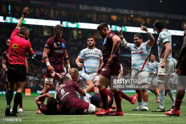 Racing92's french hooker Camille Chat scores a try during the French Top 14 rugby union match between Racing Metro 92 and BordeauxBegles at the Paris...