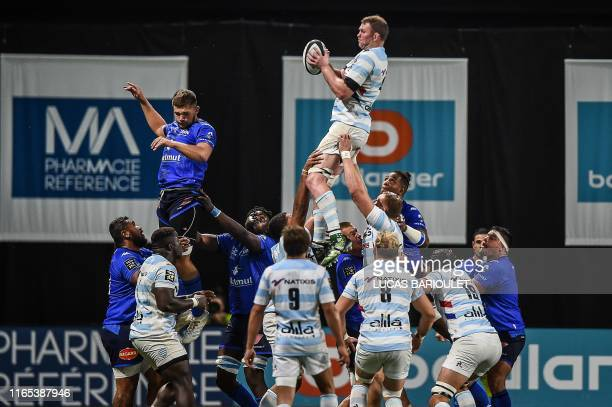 TOPSHOT Racing92's Irish lock Donnacha Ryan catches the ball during a line out during the French Top 14 rugby union match between Racing 92 and...