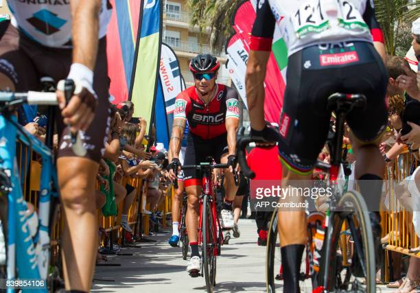 BMC Racing's Irish cyclist Nicolas Roche rides his bike prior to the start of the 9th stage of the 72nd edition of La Vuelta Tour of Spain cycling...