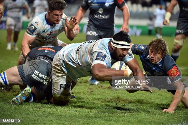 Racing's lock Edwin Maka scores a try during the Champions Cup rugby match between Castres and Racing 92 at The Pierre Fabre Stadium at Castres in...