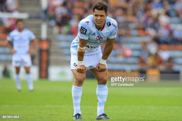 Racing's New Zealand flyhalf Dan Carter looks on during the French Top 14 rugby union match between Agen and Racing 92 on September 2 2017 at the...