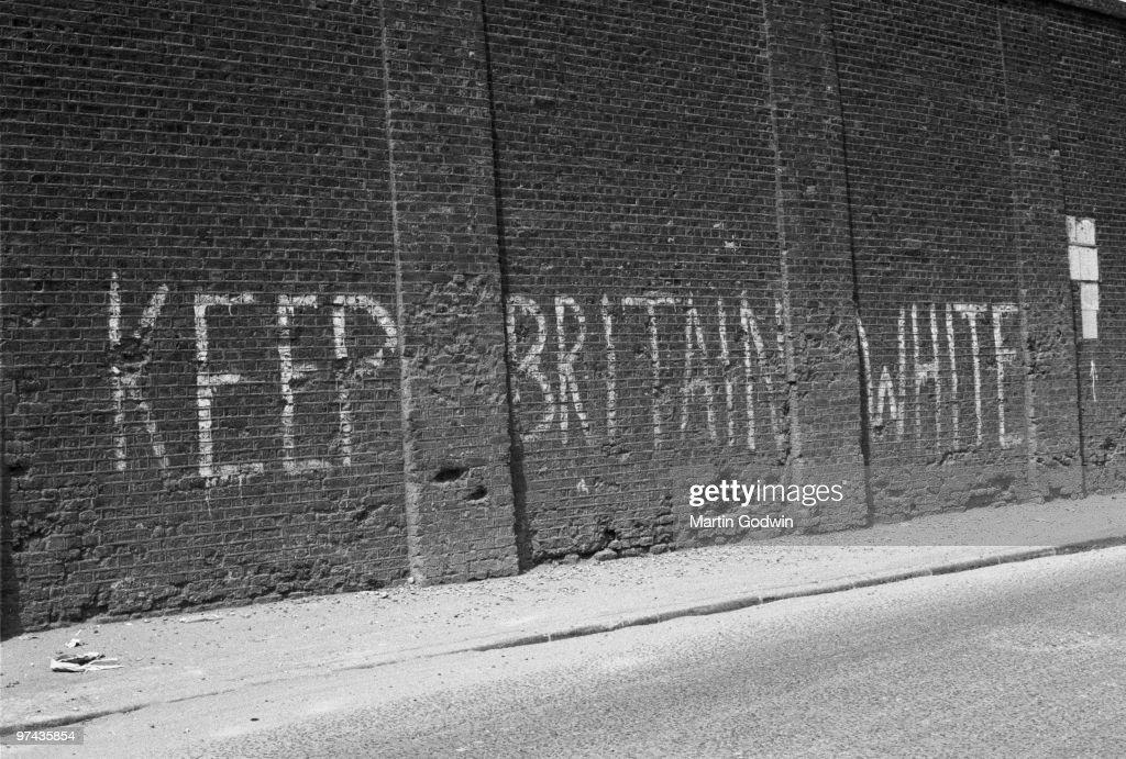 Keep Britain White Graffiti : News Photo