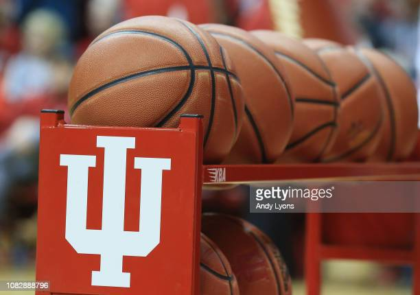 A rack of balls at the Indiana Hoosiers games against the Nebraska Cornhuskers at Assembly Hall on January 14 2019 in Bloomington Indiana
