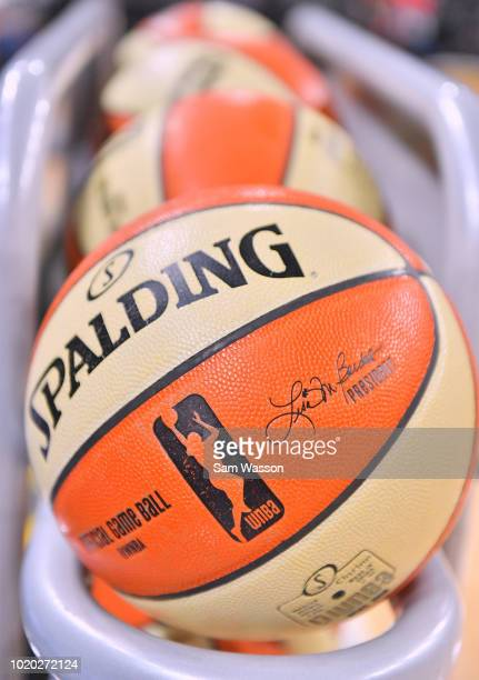 A rack of basketballs is shown before a game between the Las Vegas Aces and the New York Liberty at the Mandalay Bay Events Center on August 15 2018...