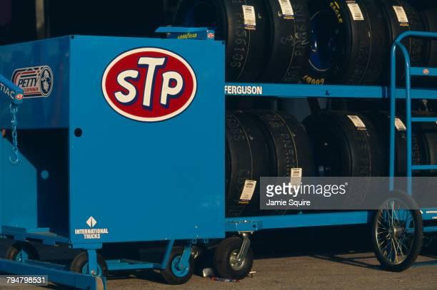 A rack of Goodyear tyres belonging to the Petty Enterprises racing team with the STP sponsor's logo at the Daytona 500 at Daytona International...