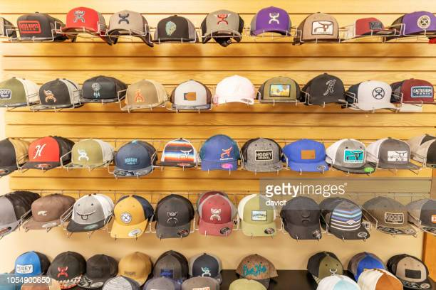 Rack of hats in a rural supplies store