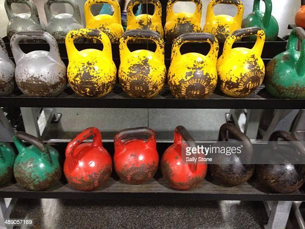 Rack of kettlebells