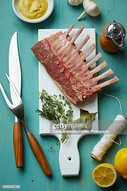 Rack of lamb and ingredients