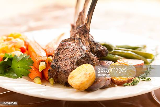 Rack of Lamb with Carrots and Green Beans