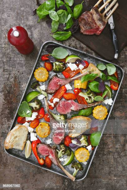 Rack of lamb with grilled vegetables and herb