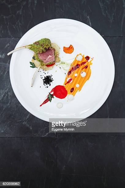 Rack of lamb with herb coating and vegetable mousse