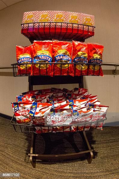 Rack of popcorn, peanuts, and cracker jacks at Minute Maid Park