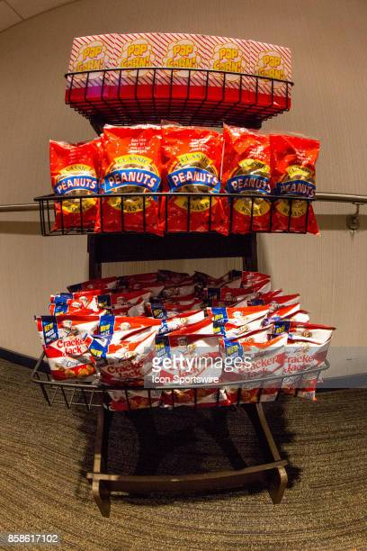 Rack of popcorn peanuts and cracker jacks at Minute Maid Park prior to game two of American Division League Series between the Houston Astros and the...