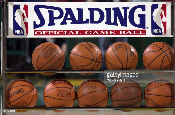 A rack of Spalding basketballs during the game between the Seattle Sonics and the Toronto Raptors at Key Arena on February 12 2004 in Seattle...
