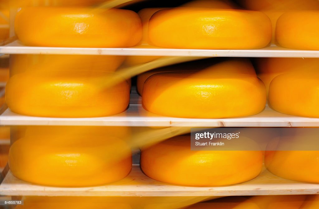 A rack of stored cheeses at the cheese dairy Nordmilch on February 5, 2009 in Nordheckstedt, near Flensburg, Germany.