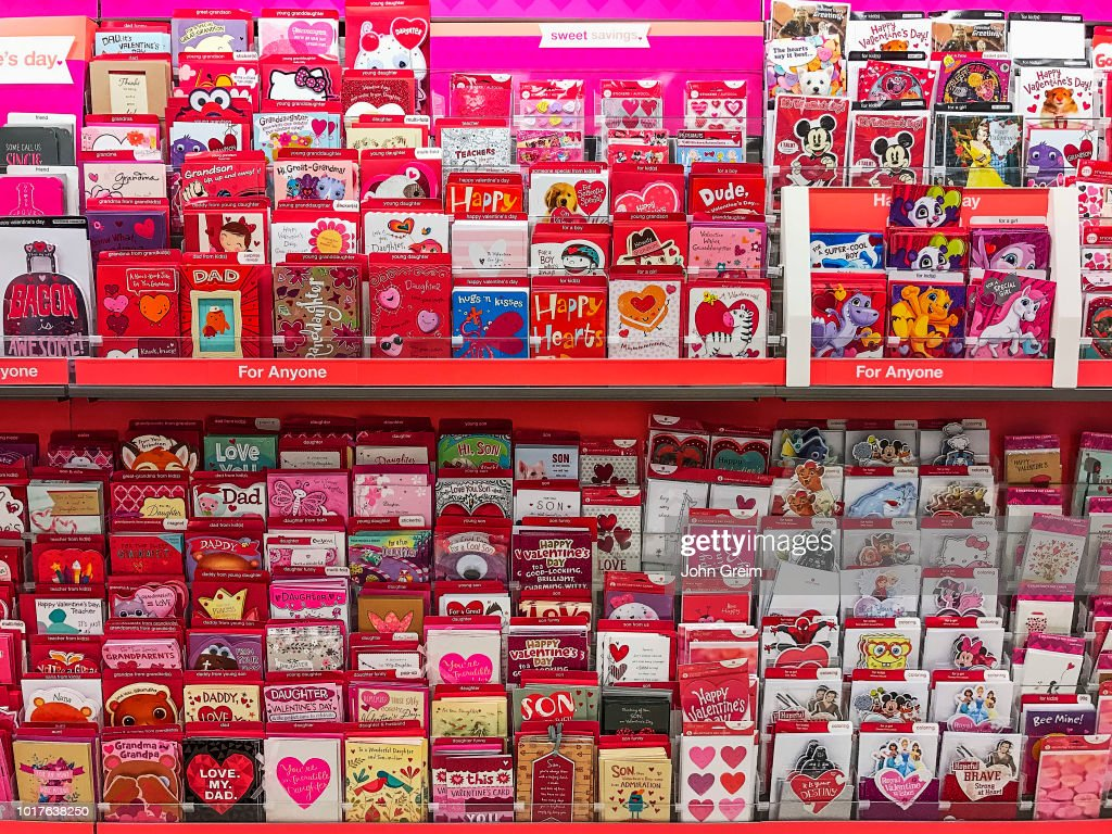 Rack Of Valentine Cards In A Greeting Card Shop Pictures Getty