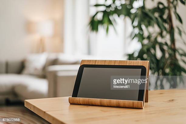 Rack with tablet on tabletop
