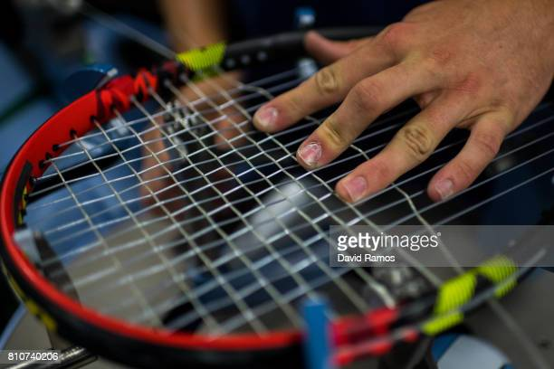 A racket is restrung in the restringing workshop on day six of the Wimbledon Lawn Tennis Championships at the All England Lawn Tennis and Croquet...