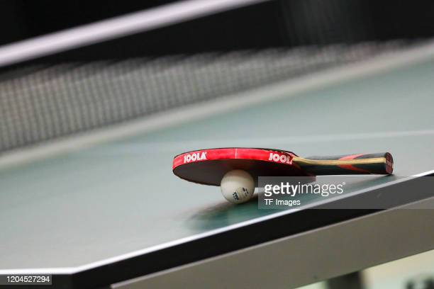 Racket is seen during the match between TSV 1909 Langstadt and TV Busenbach on February 1, 2020 in Langstadt near Dieburg, Germany.