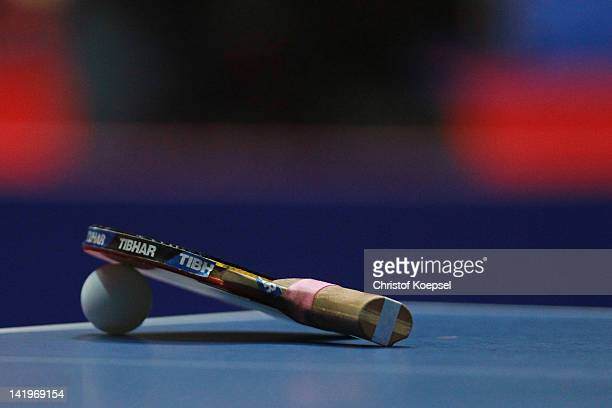 A racket lies on the table during the LIEBHERR table tennis team world cup 2012 championship division group C women's team match between Japan and...