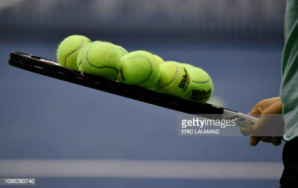 A racket with balls pictured at a training session ahead of the quarterfinal of the Fed Cup meeting between Belgium and France in the World Group...