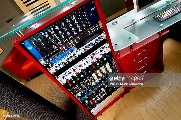 Rackmounted audio equipment in the control room of Alpha Centauri Studios in London taken on December 10 2008
