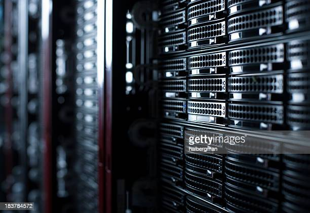 rackmounted servers in a datacenter - storage compartment stock pictures, royalty-free photos & images