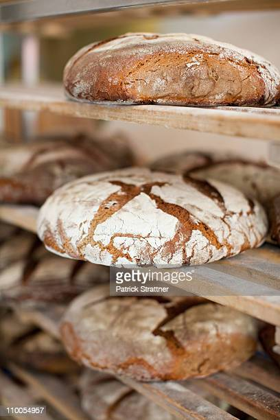 Racks of freshly baked bread