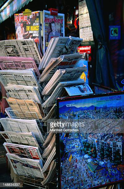 Racks of newspapers and a map on Barcelona's most popular promenade - Barcelona, Catalonia