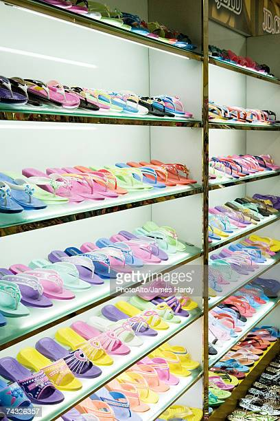 racks of shoes - rack stock pictures, royalty-free photos & images