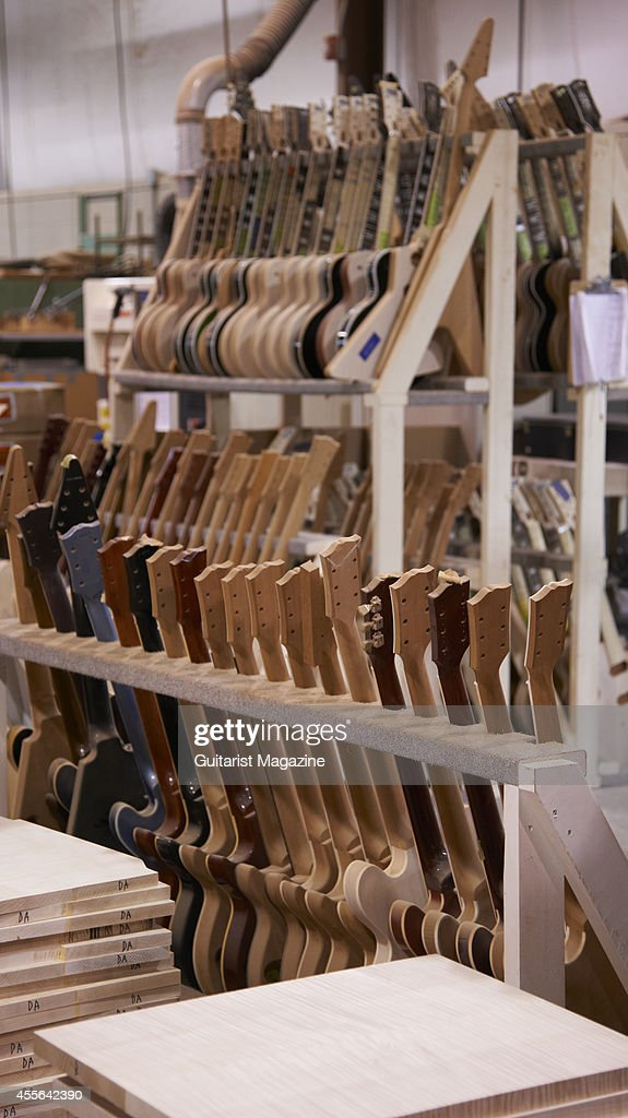 Racks of unfinished guitars at the Gibson Custom factory in
