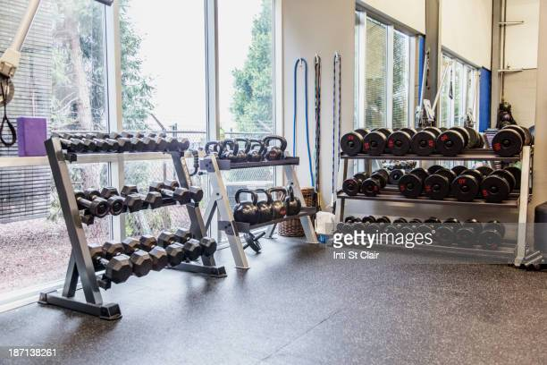 Racks of weights in gym
