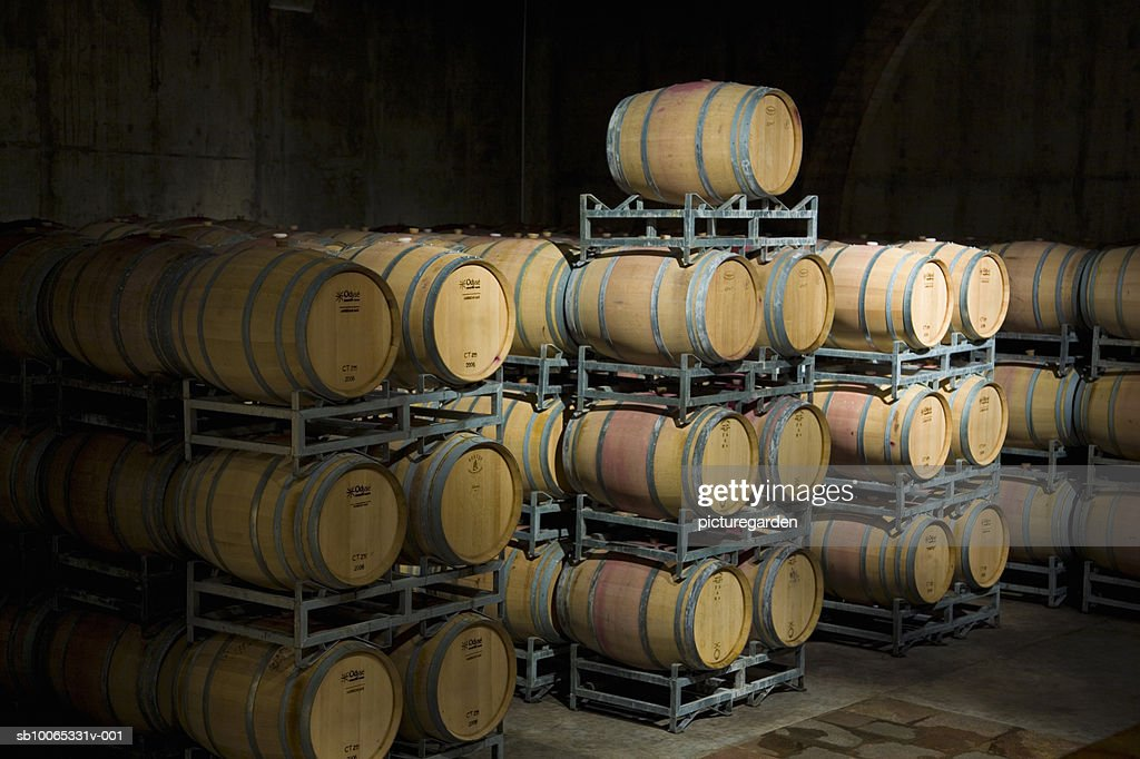 Racks with wine barrels in cellar : Foto stock