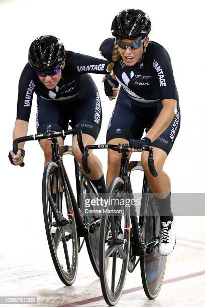 Racquel Sheath and Rushlee Buchanan of New Zealand compete in the Women's Madison final during the 2018 UCI Track World Cup on January 20 2019 in...