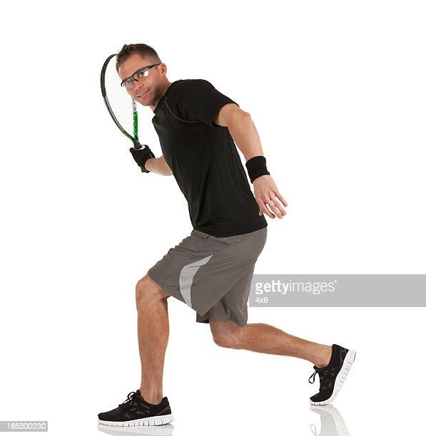 Racquetball player in action