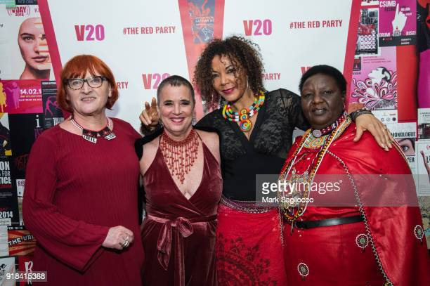 Rada Boric, Eve Ensler, Christine Schuler Deschryver and Agnes Pareyio attend The Red Party - 20th Anniversary Celebration Of V-Day and The Vagina...