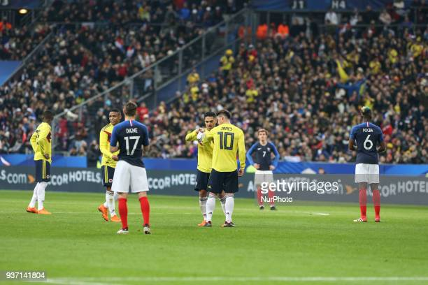 Radamel Falcao and James Rodriguez during the friendly football match between France and Colombia at the Stade de France in SaintDenis on the...