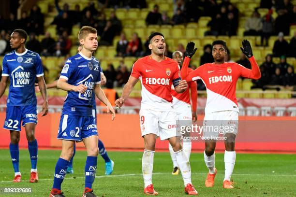 Radamel Falcao and jemerson of Monaco look dejected during the Ligue 1 match between AS Monaco and Troyes Estac at Stade Louis II on December 9 2017...