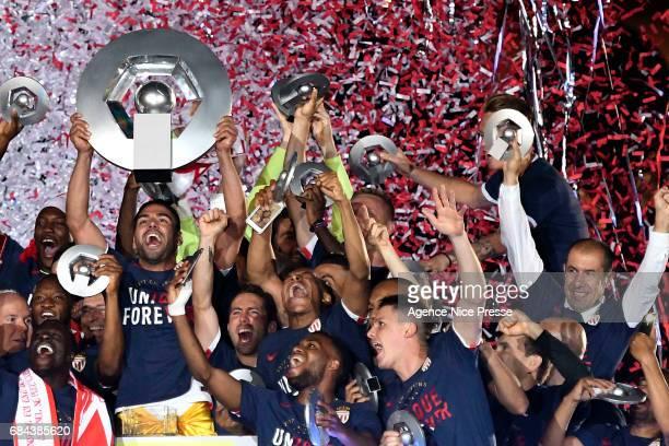 Radamel Falcao and Leonardo Jardim head coach of Monaco celebrates winning the Ligue 1 title after the Ligue 1 match between As Monaco and AS Saint...