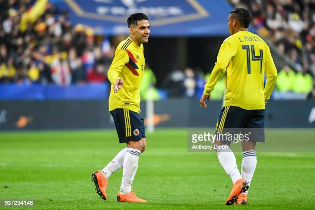 Radamel Falcao and Luis Fernando Muriel of Colombia during the International friendly match between France and Colombia on March 23 2018 in Paris...