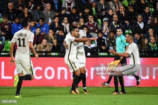 Radamel Falcao and team of Monaco celebrates a goal during the Ligue 1 match between FC Metz and AS Monaco on August 18 2017 in Metz